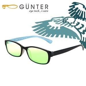 【GUNTER】室內濾藍光戶外抗UV變色眼鏡-極光鷹(亮黑/藍)