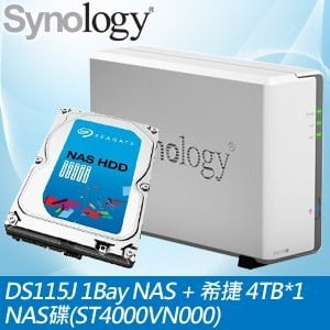 Synology 群暉 DiskStation DS115J 1Bay NAS+希捷 4TB NAS碟(ST4000VN000)