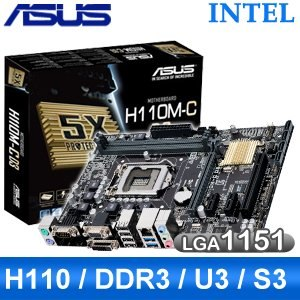 ASUS 華碩 H110M~C D3 LGA1151 主機板~ 註冊四年 ~
