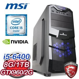 微星 B150 平台【惡魔翔翼】Intel Core i5-6400 8G 1TB GTX960 GAMING 2G獨顯電玩機