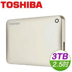 Toshiba 東芝 Canvio Connect II V8 3TB USB3.0 2.5吋行動硬碟《金》