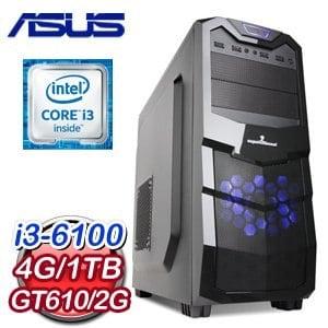 華碩 H110 平台【裂敵枷鎖】Intel Core i3-6100 4G 1TB GT610 2G獨顯效能燒錄電腦