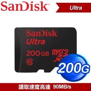 SanDisk 200G/90M Ultra MicroSDXC 記憶卡《附轉卡》
