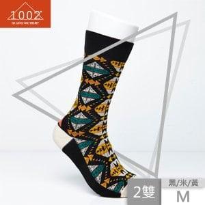 【1002】精梳棉幾何圖形提花長襪(2雙/M)