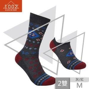 【1002】精梳棉菱形小格提花長襪+短襪(M)