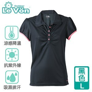 LeVon 女款吸濕排汗抗UV短袖POLO衫-黑色L(LV7269)