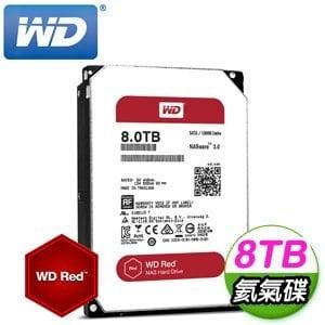 WD 威騰 Red 8TB 3.5吋 5400轉等級 128M快取 SATA3紅標氦氣硬碟(WD80EFZX)