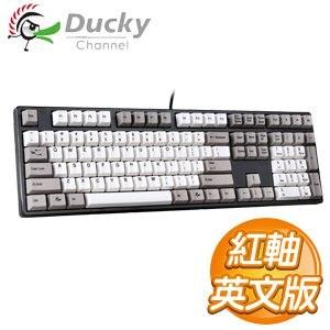 Ducky 創傑 One 紅軸 英文 無背光 黑蓋灰白帽 機械式鍵盤