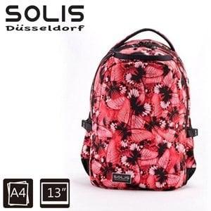 【SOLIS】基本款電腦後背包-彩蝶飛舞Butterfly系列-小-浪漫紅(B0502015)