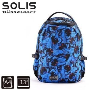 【SOLIS】基本款電腦後背包-彩蝶飛舞Butterfly系列-小-午夜藍(B0502016)