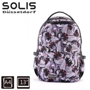 【SOLIS】基本款電腦後背包-彩蝶飛舞Butterfly系列-小-迷霧黑(B0502017)