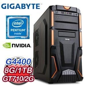 技嘉 H110 平台【一路禪】Intel Pentium G4400 8G 1TB N710 2G 超值獨顯高效能電腦