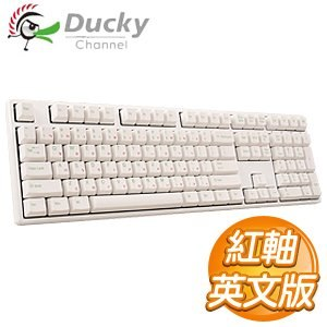 Ducky 創傑 One 紅軸 英文 無背光 PBT白帽白蓋 機械式鍵盤