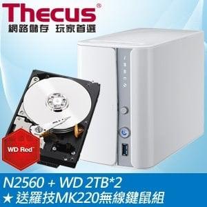 Thecus 色卡司 N2560 2Bay NAS+WD 2TB NAS硬碟(2顆)★送羅技MK220無線鍵鼠組