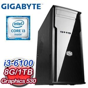 技嘉 H110 平台【荊棘冠冕】Intel Core i3-6100 8G 1TB 6代高效能電腦