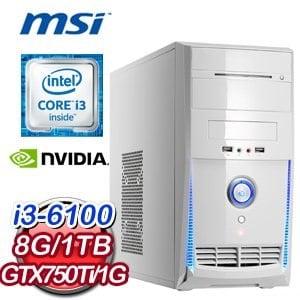 微星 B150 平台【紫蕾映雪】Intel Core i3-6100 8G 1TB N750Ti 高效能獨顯燒錄電腦