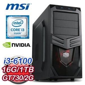 微星 H170 平台【靖凝】Intel Core i3-6100 16G 1TB N730K 獨顯遊戲主機