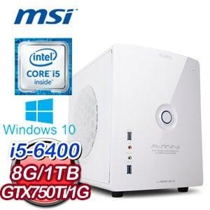 微星 B150 平台【鑑甲鋼龍】Intel Core i5-6400 8G 1TB N750Ti 高效獨顯電腦《含WIN10》