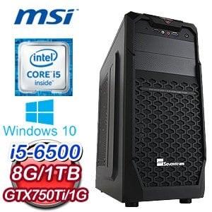 微星 H170 平台【胡狼聖戰士】Intel Core i5-6500 8G 1TB N750Ti 獨顯電競電腦《含WIN10》