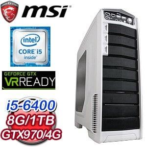 微星 Z170平台【光的洗禮】Intel Core i5-6400 8G 1TB GTX970 電競VR虛擬實境機《含WIN10》