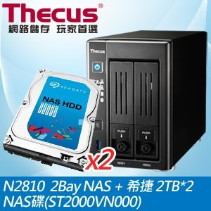 Thecus 色卡司 N2810 2Bay NAS+希捷 2TB NAS碟*2(ST2000VN000)