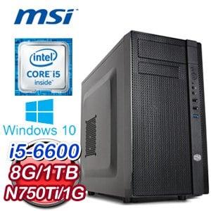 微星 H170 平台【布魯諾特】Intel Core i5-6600 8G 1TB N750Ti 獨顯電競電腦《含WIN10》