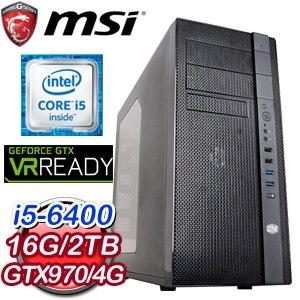 微星 H170 平台【德古洛斯】Intel Core i5-6400 16G 2TB GTX970電競VR虛擬實境機《含WIN10》