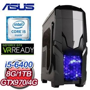 華碩 H110 平台【歐菲克斯】Intel i5-6400 8G 1TB GTX970 電競VR虛擬實境機《含WIN10》