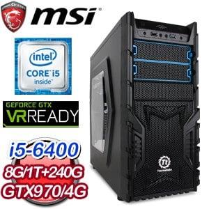 微星 H170 平台【龍爭虎鬥】Intel Core i5-6400 8G 1TB GTX970 獨顯電競專用機 ★送微星電競鍵鼠