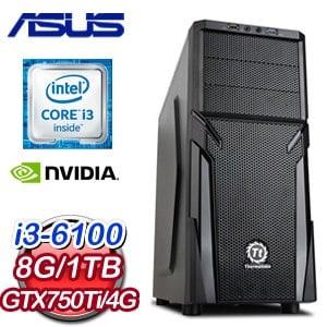 華碩 H170 平台【旗開得勝】Intel i3-6100 8G 1TB GTX750TI 高效能獨顯電腦