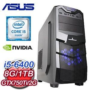 華碩 H170平台【聖魔戰印III】Intel i5-6400四核 GTX750TI獨顯高效能電腦