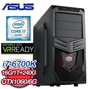 華碩 Z170 平台【鋼鐵英雄II】Intel Core i7-6700K 16G 240G SSD GTX1060 6G獨顯飆速電競機