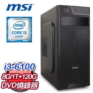微星 H110 平台【股票長紅】Intel Core i3-6100 8G 1TB 120G SSD高效能燒錄電腦