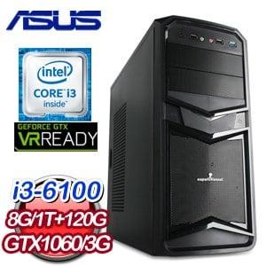 華碩 B150 平台【神通廣大】Intel i3-6100 8G 1TB GTX1060 高效能獨顯電腦