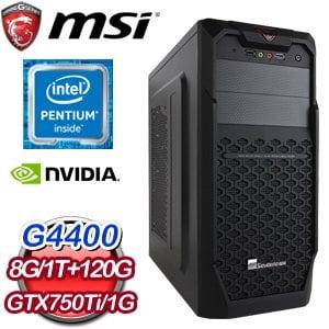 微星H170平台【西札瀾薩】Intel Pentium G4400 N750Ti獨顯飆速電腦《含WIN10》