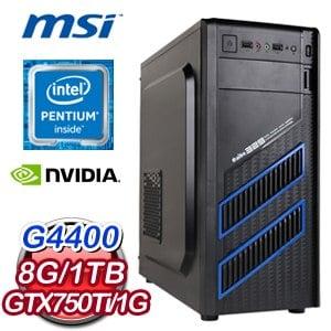 微星H170平台【鬼魅天下】Intel Pentium G4400 N750Ti獨顯飆速電腦《含WIN10》