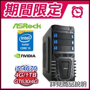 ☆期間限定★ 華擎平台【螺旋紫光】i5四核 1TB 4G獨顯遊戲電腦