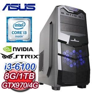 華碩 H110 平台【爐火純青】Intel i3-6100 8G 1TB GTX970 高效能獨顯電腦