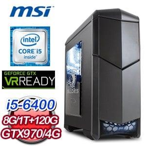 微星 H170 平台【刀光劍影】Intel Core i5-6400 8G 1TB GTX970 獨顯電競電腦