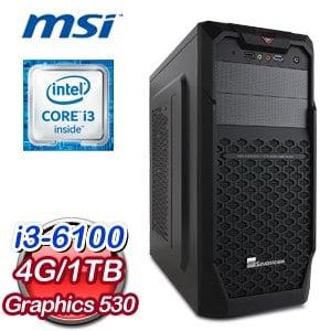 微星 H110 平台【駕輕就熟】Intel Core i3-6100 4G 1TB 高效能燒錄電腦
