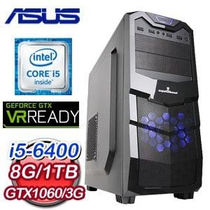 華碩 B150 平台【橫行霸道】Intel i5-6400 GTX1060 O3G 電競VR虛擬實境機
