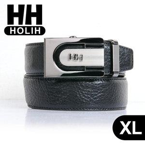 【HH】男款牛皮時尚自動釦式皮帶-黑XL(4716906072268XL)