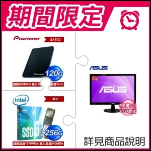 ☆期間限定★ 華碩 VS197DE 19吋 LED液晶螢幕(x2)+Pioneer APS-SL2 120GB SSD(x2)+Intel 600P 256G M2 SSD
