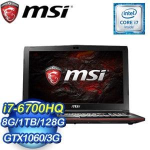 MSI 微星 GP62MVR 6RF-245TW(i7-6700HQ/8G/128G SSD+1T/GTX1060 3G) 電競筆電