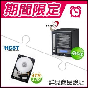 ☆期間限定★ 色卡司 N4100EVO 4Bay網路儲存伺服器《經典款》+HGST 4TB 3.5吋 7200轉 64M快取 SATA3 NAS專用硬碟(x2)