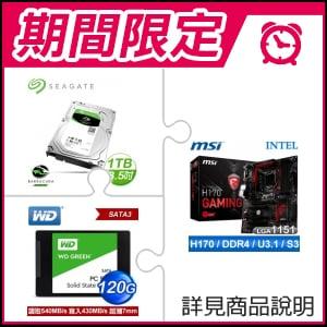 ☆期間限定★ 微星 H170 GAMING M3 主機板+希捷 新梭魚1TB硬碟《裝機版》+WD 威騰 SSD 120G 2.5吋固態硬碟《綠標》