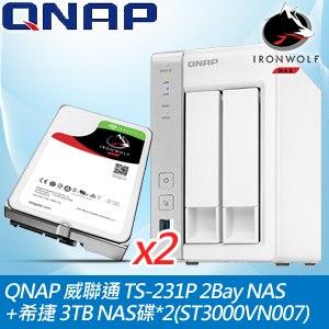 QNAP 威聯通 TS-231P 2Bay NAS+希捷 3TB NAS碟*2(ST3000VN007)