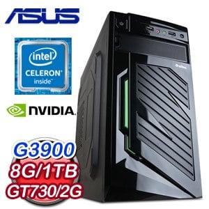 華碩 H110 平台【黑夜天使II】Intel Celeron G3900/8G/1TB/GT730 2G獨顯文書大容量電腦