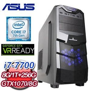 華碩 HIGHER【見龍在田】Intel i7-7700 GTX1070 O8G 電競VR虛擬實境機
