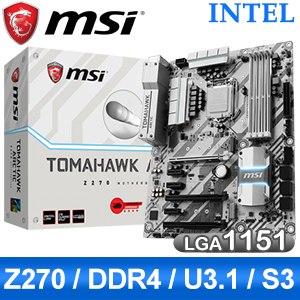 MSI 微星 Z270 TOMAHAWK ARCTIC LGA1151 主機板